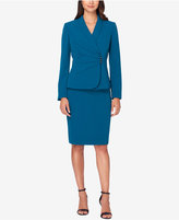 Tahari ASL Ruched Asymmetrical Skirt Suit