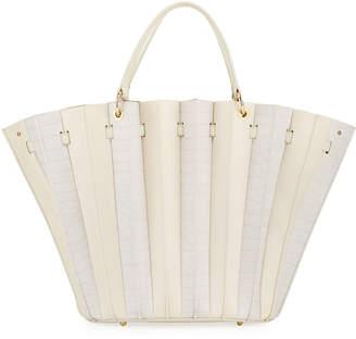 Sara Battaglia Teodora Leather Plisse Tote Bag