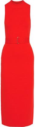 Nicholas Belted Jacquard-knit Midi Dress
