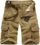 Elonglin Mens Cargo Shorts Cropped Outdoor Vintage Bermuda Shorts NO BELT