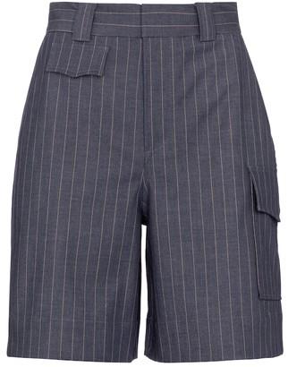 Ganni Pinstriped high-rise cargo shorts