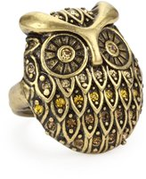 "Lucky Brand Glitz Adjustable Rings"" Gold-Tone Pave Owl Adjustable Ring"