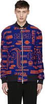 Kenzo Blue and Orange Hyper Zipped Bomber Jacket