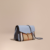 Burberry Small Leather and House Check Crossbody Bag, Blue