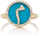 Names by Noush M'O Exclusive: Treasure Disk Arabic Initial Ring With Turquoise Gemstone