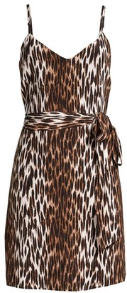 L'Agence Leopard-Print Belted Silk Camisole Dress