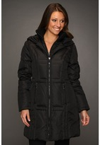 Vince Camuto Quilted Down Zip Coat w/ Knit Trim (Black) - Apparel