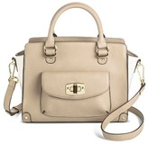 Merona Women's Two Tone Satchel Faux Leather Handbag with Front Pocket and Removable Shoulder Strap