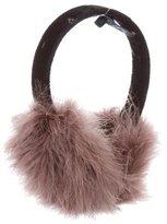 Jocelyn Mauve Feather-Embellished Earmuffs w/ Tags
