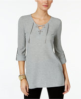 MICHAEL Michael Kors Waffle-Knit Lace-Up Top