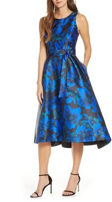 Tahari Floral Mikado High/Low Cocktail Dress
