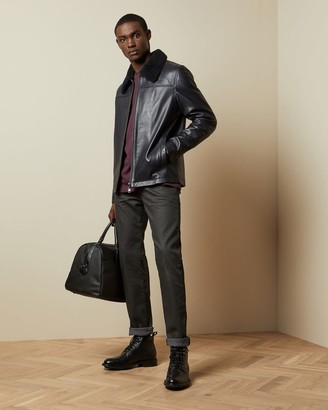 Ted Baker Leather Jacket With Shearling Trim