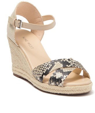 Nine West Joy Snakeskin Embossed Espadrille Wedge Sandal