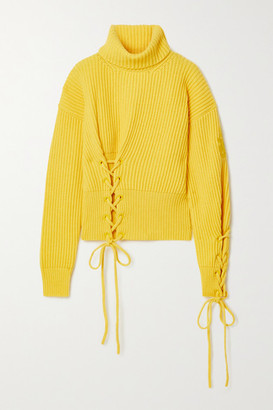 MONCLER GENIUS 1 Jw Anderson Lace-up Ribbed Wool And Cashmere-blend Turtleneck Sweater - Yellow