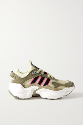 adidas Magmur Suede-trimmed Leather And Mesh Sneakers - Army green