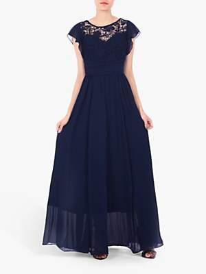 Jolie Moi Crochet Lace Bodice Maxi Dress, Navy