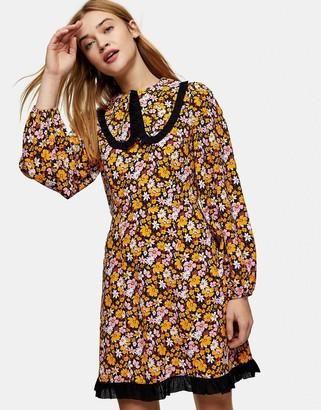 Topshop oversized collar mini dress in floral print