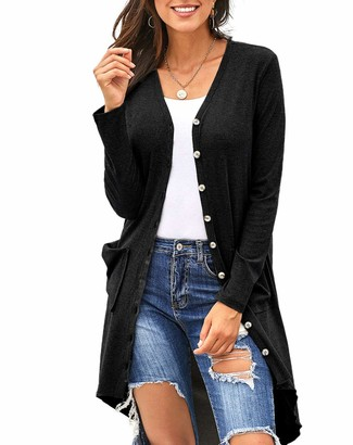 Furpazven Womens Cardigans Solid Color Long Sleeve Casual Button Knitted Sweater with Pockets Black XXL