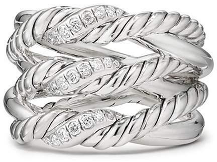 David Yurman Continuance Three-Row Ring with Diamonds