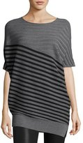 St. John Wool Jersey Striped Asymmetric Sweater, Gray/Black