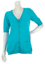 Denim & Co. As Is Essentials Elbow Sleeve Cardigan with Pockets