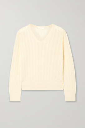 The Row Rozanna Cable-knit Cashmere And Silk-blend Sweater - Ivory