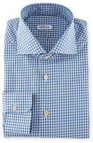 Kiton Box-Check Woven Dress Shirt, Blue