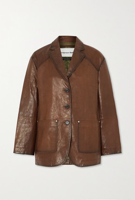 ANDERSSON BELL Theron Paneled Leather Blazer - Brown