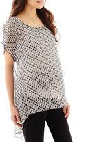 JCPenney Maternity Short-Sleeve Sheer Drape-Back Blouse - Plus