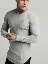 SikSilk Brushed Rib Knit Gym T-Shirt - Grey