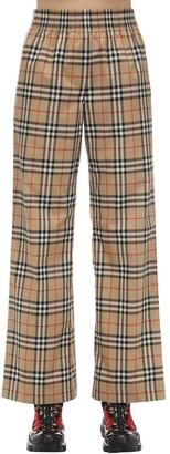 Burberry Check Cotton Poplin Pants W/ Side Bands