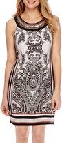 Studio 1 Sleeveless Embellished Neck Border Sheath Dress