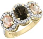 PIERA 10K Yellow Gold Natural Smoky Topaz & Morganite 3-Stone Ring Oval Diamond Accent, size 9.5