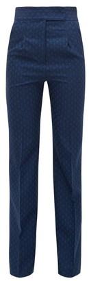 Mame Kurogouchi - High-rise Flared Wool-blend Jacquard Trousers - Navy