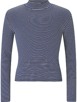 John Lewis Girls' Stripe Turtle Neck Top, Navy