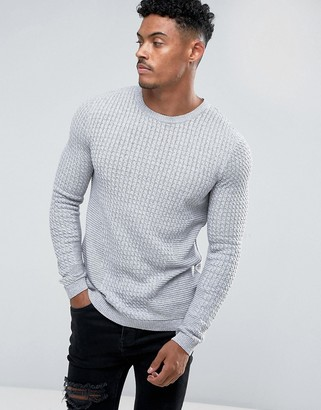 Asos Design DESIGN muscle fit lightweight cable sweater in gray