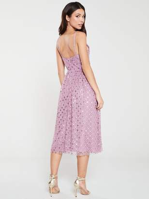 Little Mistress Sequin Embroidered Midi Dress - Canyon Rose