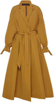 Martin Grant Belted Pleated Crepe Trench Coat