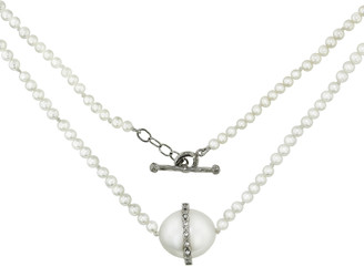 Cathy Waterman Diamond Overlay Pearl Necklace - Platinum