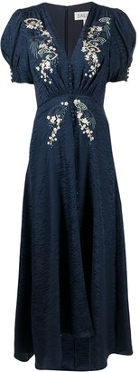 Saloni Floral Embroidered Flared Dress
