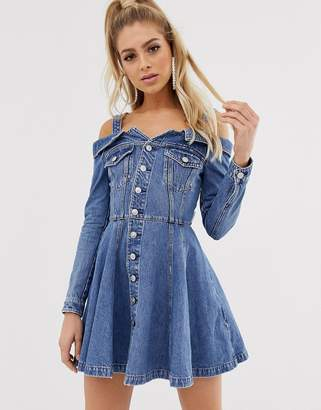 Miss Sixty off the shoulder flare denim dress with button detail-Blue