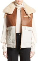 Chloé Women's Genuine Shearling Trim Leather & Cotton Vest