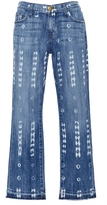Current/Elliott Cropped Low Rise Destroyed Pattern Straight Jeans