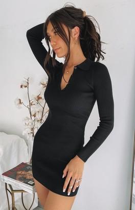 Beginning Boutique Underwood Collared Ribbed Dress Black