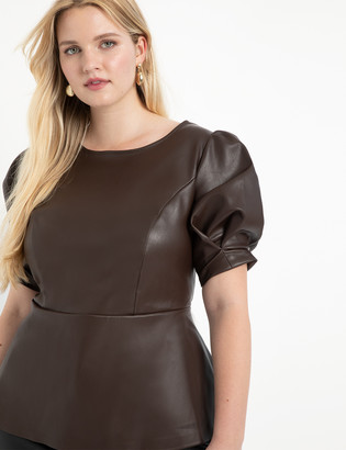 ELOQUII Faux Leather Puff Sleeve Peplum Top