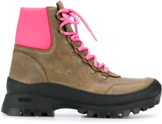 Mr & Mrs Italy Neon Pink Panelled Boots
