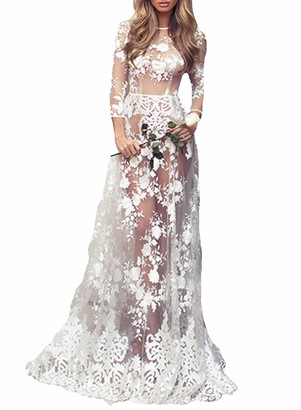 FOBEXISS Womens Fashion Newest White Lace Maxi Dress Long Sleeve Crew Neck Sexy See Through Mesh Dress