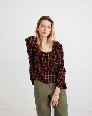 Madewell Plaid Ruffled Square-Neck Crop Top