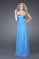 La Femme Luminous Satin Sweetheart Empire Gown 15084