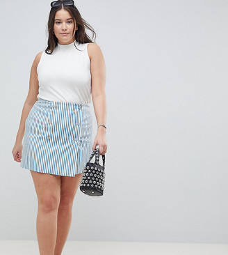 Asos DESIGN Curve double breasted mini skirt in blue stripe
